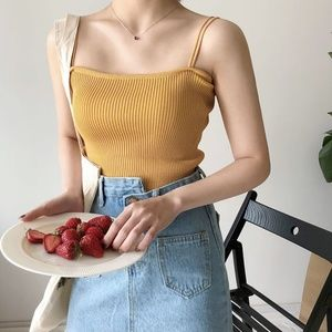Double-Strap Cropped Mustard Camisole